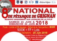 NATIONAL de Pétanque GRIGNAN 2018